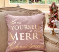 Pretty Purple And Gold 'Have Yourself A Very Merry Christmas' Cushion